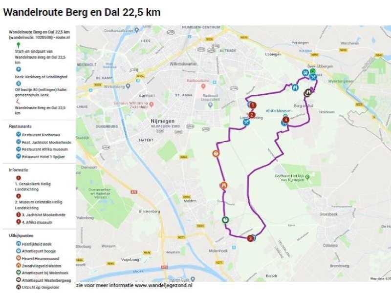 Wandelroute Berg en Dal 22,5 km met legenda