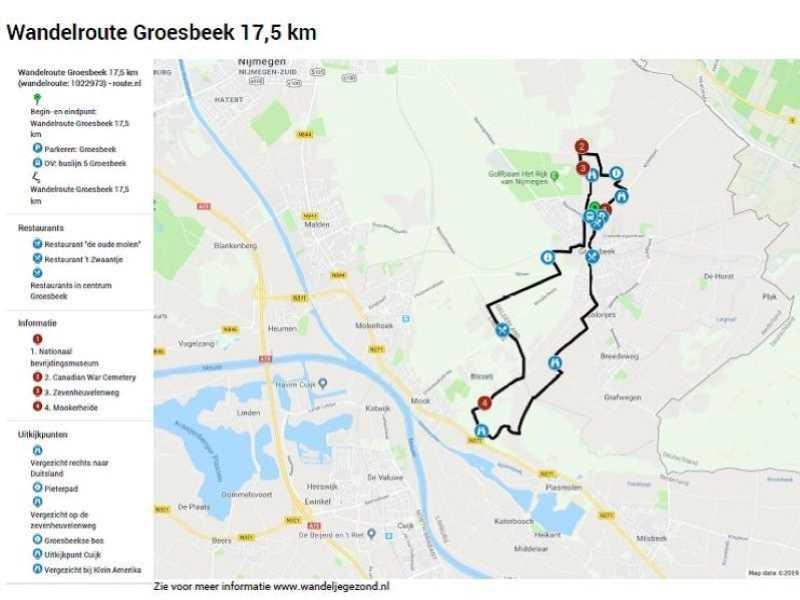 Wandelroute Groesbeek 17,5 km met legenda