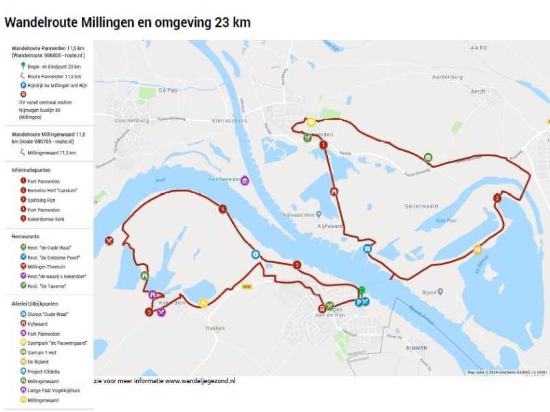 Wandelroute Millingen en omgeving 23 km met legenda