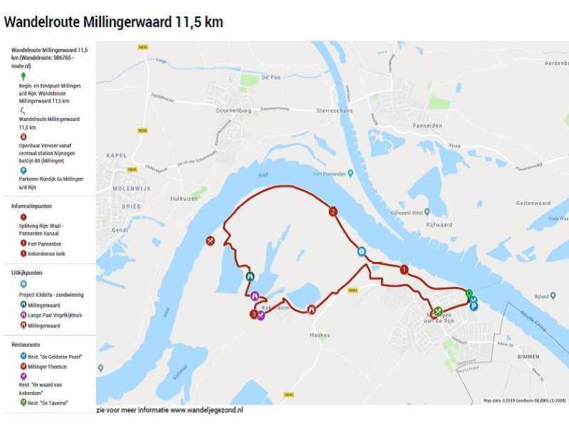 Wandelroute Millingerwaard 11,5 km met legenda