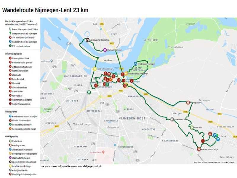 Wandelroute Nijmegen Lent 23 km met legenda